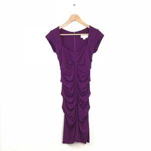 Artelier Nicole Miller Dress Draped Cap Sleeve M
